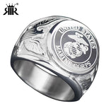 RIR USA Military Ring United States MARINE CORPS US ARMY Men Signet Rings Fashion Stainless Steel Jewelry