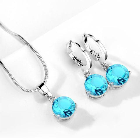 Blue Topaz Necklace & Earrings Brilliance Set, FREE Shipping!-Jewelry Sets-Modern Lemma