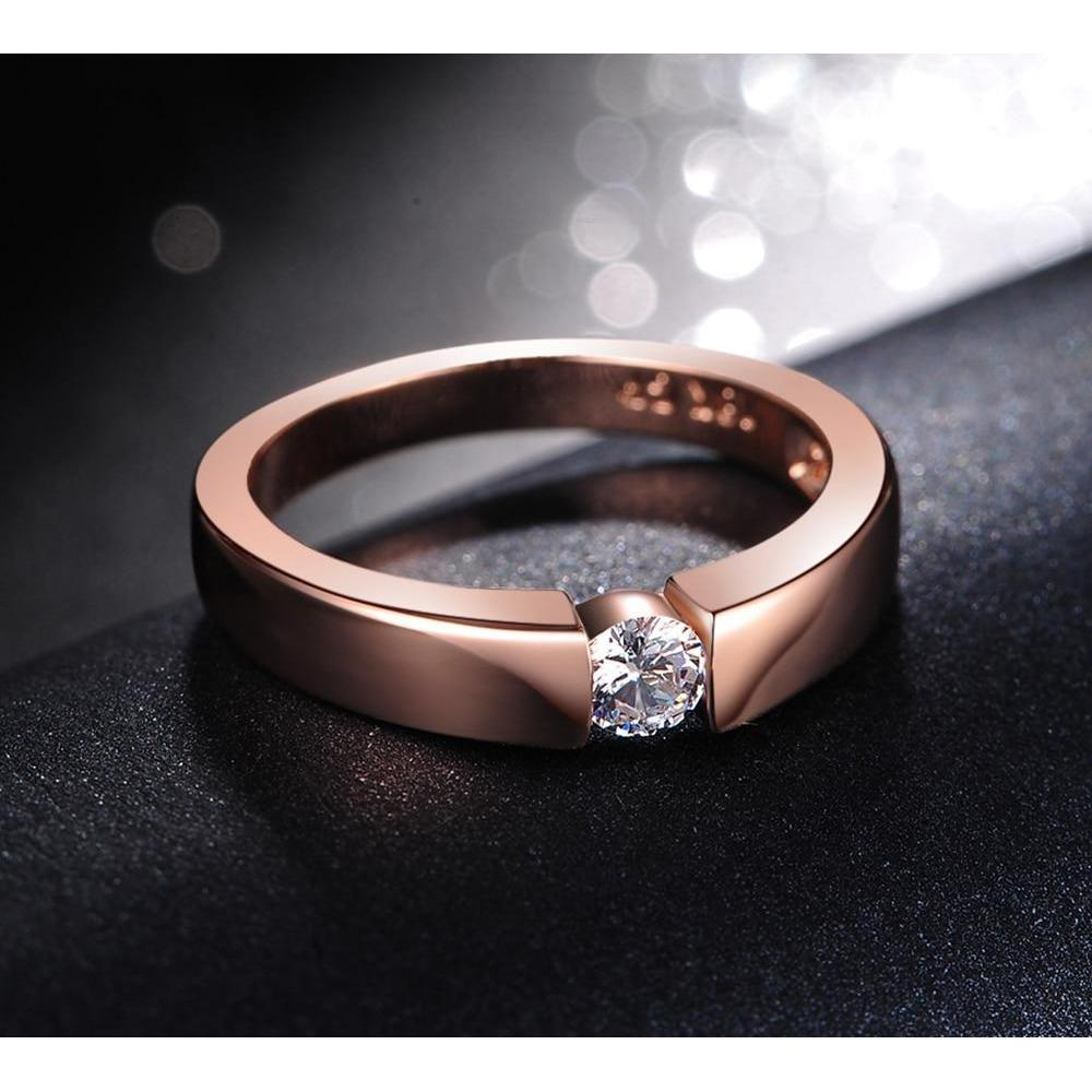 Rose Gold Ring - Tension Setting, FREE Shipping!-Modern Lemma