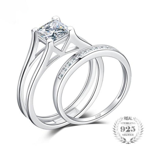2Ct Princess Cut Solitaire Anniversary Engagement Ring Bridal Channel Set Wedding Band 925 Sterling Silver On Sale - Vera Nova Jewelry
