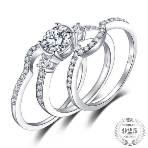 Elegant 1.5Ct Cubic-Zirconia 3 Pcs Bridal Set 925 Sterling Silver Rings - Vera Nova Jewelry