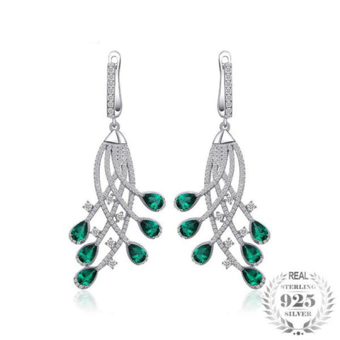 Empyrean 1.7Ct Lab-Created Emerald 925 Sterling Silver Dangle Earrings - Vera Nova Jewelry