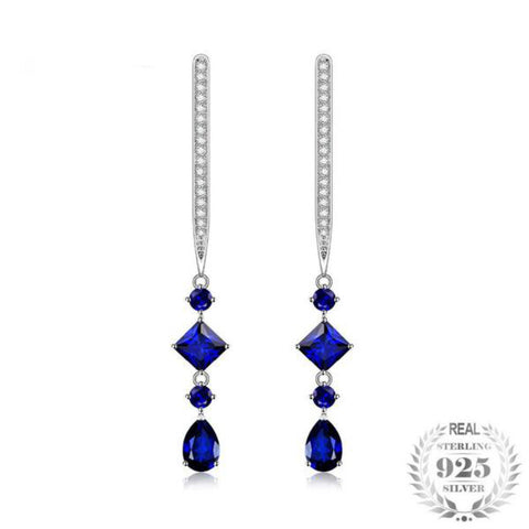 Exquisite 1.6Ct Princess Cut Lab-Created Blue Spinel 925 Sterling Silver Drop Earrings