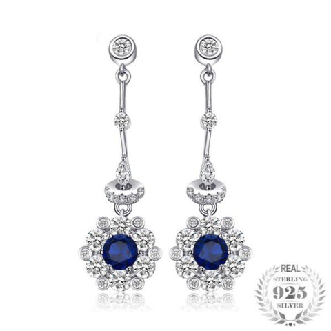Captivating 0.5Ct Lab-Created Blue Spinel 925 Sterling Silver Dangle Earrings - Vera Nova Jewelry
