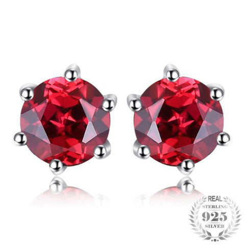 Sophisticated Round 1.3Ct Natural Garnet 925 Sterling Silver Stud Earrings