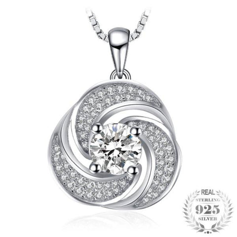 Splendorous Flower 1.45Ct Cubic Zirconia 925 Sterling Silver Pendant Necklace