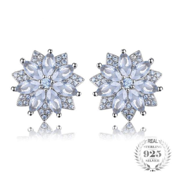 Flower 1.3Ct Lab-Created Light Blue Spinel 925 Sterling Silver Stud Earrings