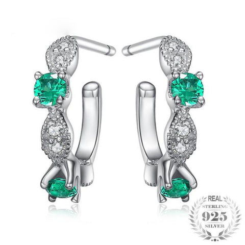 Vintage Marquise 0.2Ct Lab-Created Emerald 925 Sterling Silver Hoop Earrings