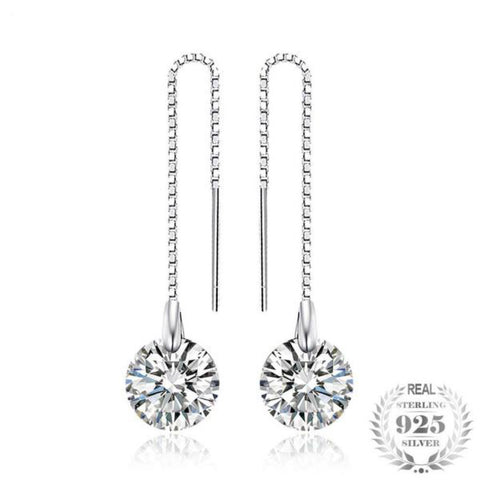 Gilded 8Mm 5.0Ct Round Dangle Earrings Made With Genuine 925 Sterling Silver