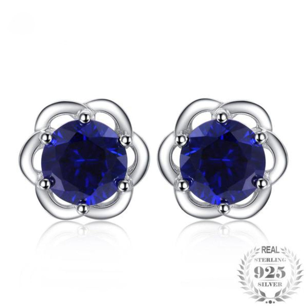 Luscious Rose 2 35Ct Synthetic Blue Sapphire 925 Sterling Silver Stud  Earrings