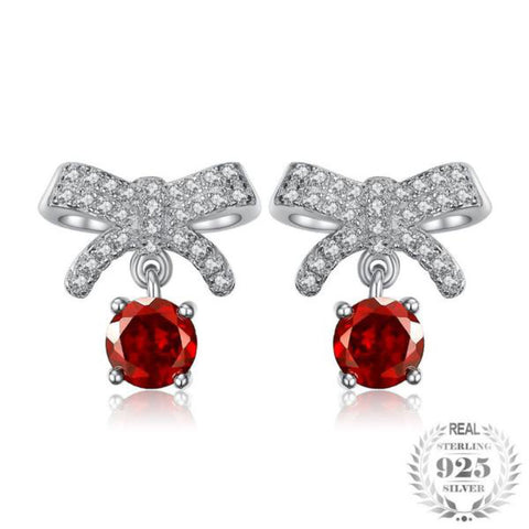 Sensational Pave Bowknot 1Ct Genuine Garnet 925 Sterling Silver Stud Earrings