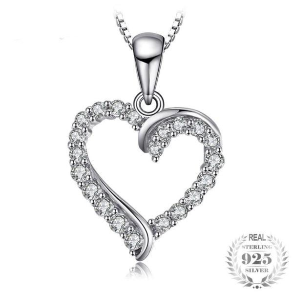 Splendid Heart 0.4Ct Cubic Zirconia 925 Sterling Silver Pendant Necklace