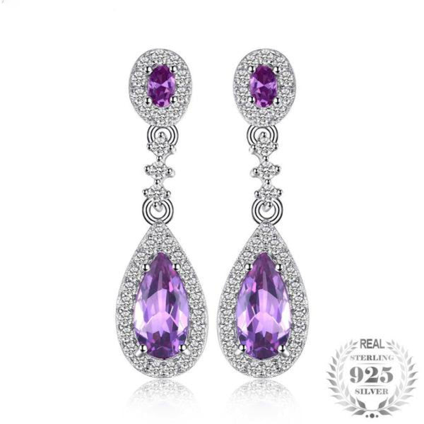 Spectacular 4.2Ct Lab-Created Alexandrite 925 Sterling Silver Drop Earrings