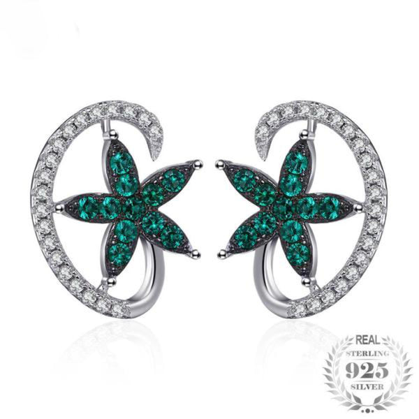 Sparkling Lucky Star 0.7Ct Synthetic Emerald 925 Sterling Silver Stud Earrings