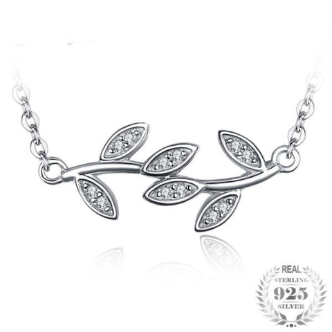 Glam Leaf Charm Infinity 0.05Ct Cubic Zirconia 925 Sterling Silver Pendant Necklace