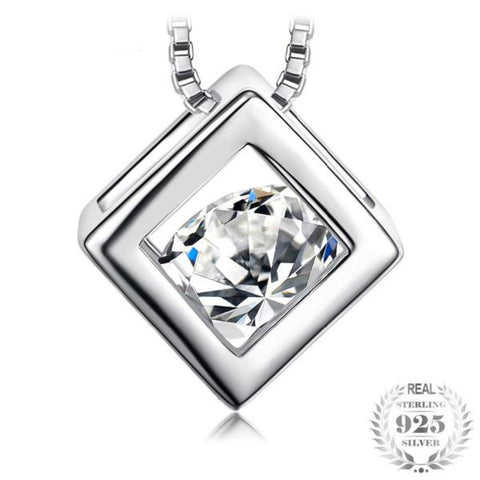 Geometric 1.6Ct Cubic Zirconia 925 Sterling Silver Pendant Necklace