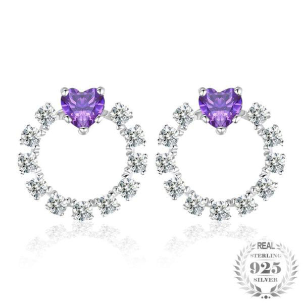 Intriguing Heart 1.1Ct Synthetic Alexandrite 925 Sterling Silver Stud Earrings