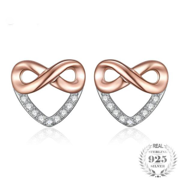 Infinity Heart 0.09Ct Cubic Zirconia 925 Sterling Silver Stud Earrings
