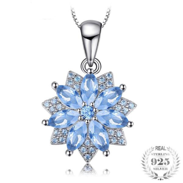 Elegant Flower 1.2Ct Lab-Created Light Blue Spinel 925 Sterling Silver Pendant Necklace - Vera Nova Jewelry