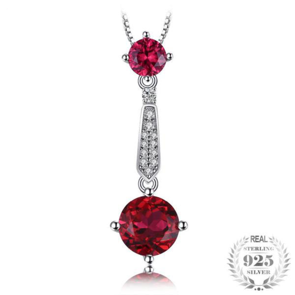 Rendezvous 3.6Ct Lab-Created Ruby 925 Sterling Silver Pendant Necklace
