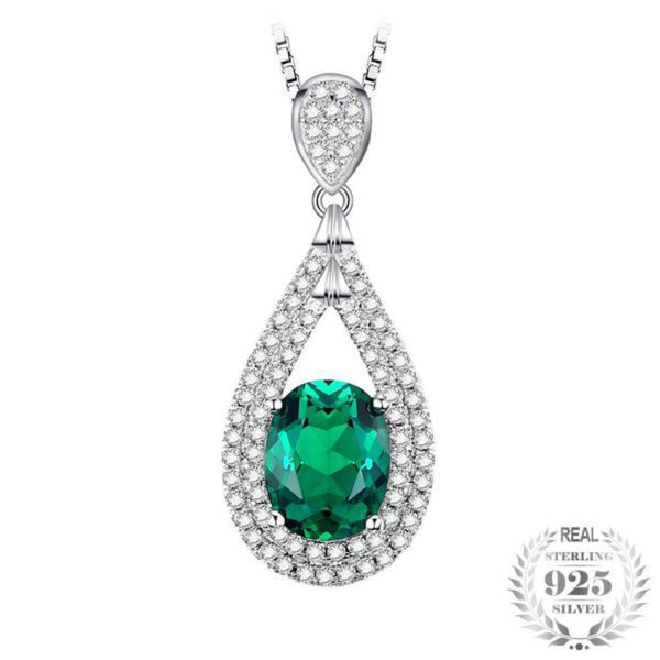 Splendorous 1.67Ct Oval Lab-Created Emerald 925 Sterling-Silver Pendant Necklace