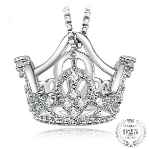 Crown Round Cubic Zirconia Pendant 100% Pure 925 Sterling Silver Fashion Accessories For Women Without The Chain - Vera Nova Jewelry