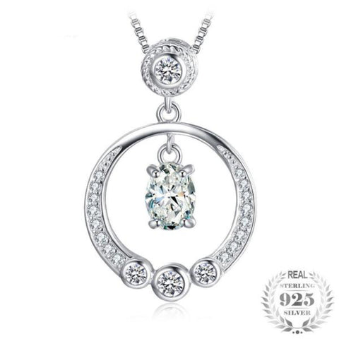 Cosmopolitan Circle 1.3Ct Cubic Zirconia 925 Sterling Silver Pendant Necklace - Vera Nova Jewelry