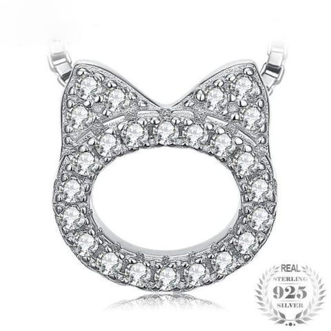 Adorable Cat Face 0.2Ct Cubic Zirconia 925 Sterling Silver Pendant Necklace - Vera Nova Jewelry