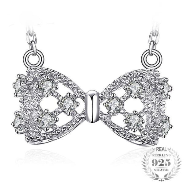 Dashing Bow Round 0.8Ct Cubic Zirconia 925 Sterling Silver Pendant Necklace - Vera Nova Jewelry