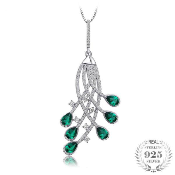 Felicitous 2Ct Lab-Created Emerald 925 Sterling Silver Pendant Necklace