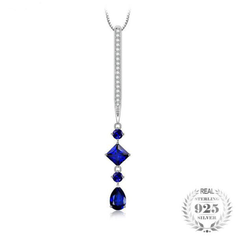 Riveting 1.5Ct Lab-Created Blue Spinel 925 Sterling Silver Pendant Necklace