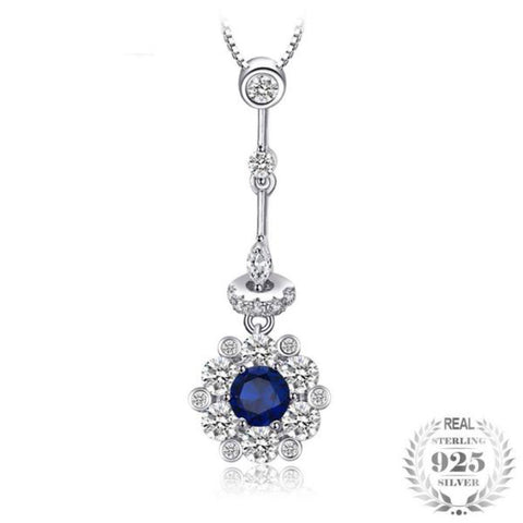 Blooming Flower 0.5Ct Lab-Created Blue Spinel 925 Sterling Silver Pendant Necklace - Vera Nova Jewelry