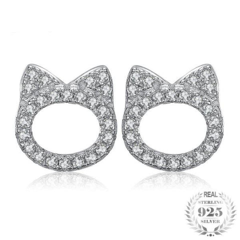Adorable Cat Face 0.2Ct Cubic Zirconia 925 Sterling Silver Stud Earrings - Vera Nova Jewelry
