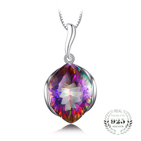 Curvaceous 10.81Ct Multicolor Mystic Topaz Marquise-Shape Sterling Silver Pendant Necklace With 18-inch Box Chain - Vera Nova Jewelry