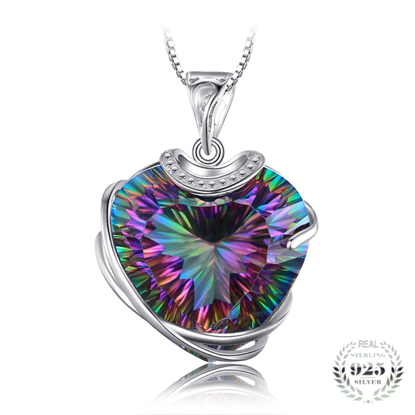 Curvaceous 30.76Ct Multicolor Mystic Topaz Triangle-Shape Sterling Silver Pendant Necklace With 18-inch Box Chain - Vera Nova Jewelry