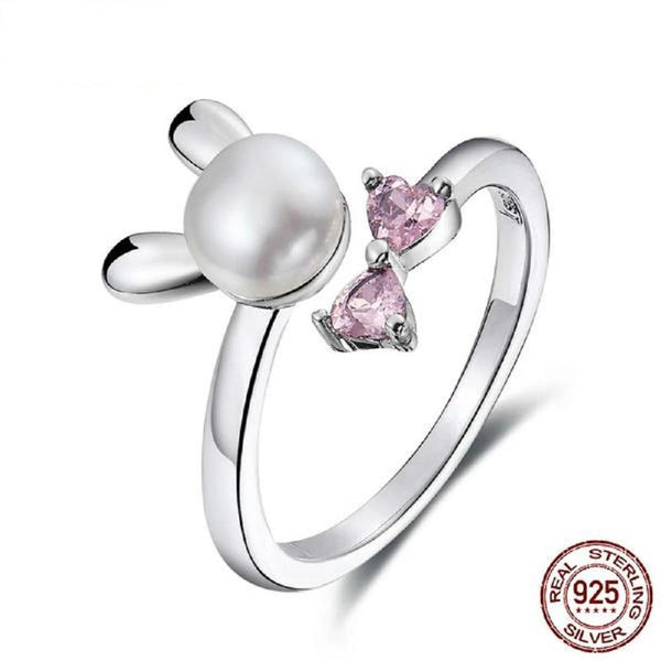 Adorable Bunny Pearl With Pink Crystal Sterling Silver Rings - Vera Nova Jewelry