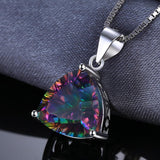 Aesthetic Triangle 5.5Ct Genuine Rainbow Fire Mystic Topaz 925 Sterling Silver Pendant Necklace - Vera Nova Jewelry