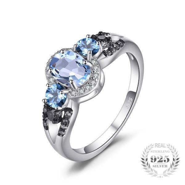 Alluring 1.6Ct Natural 3 Stones Sky Blue Topaz 925 Sterling Silver Rings - Vera Nova Jewelry