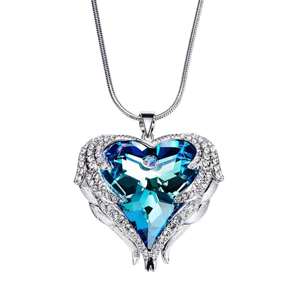 52939f5af74e Angelic Angel Wings Heart Shaped Pendant Necklace Made With Crystals From  Swarovski - Vera Nova Jewelry
