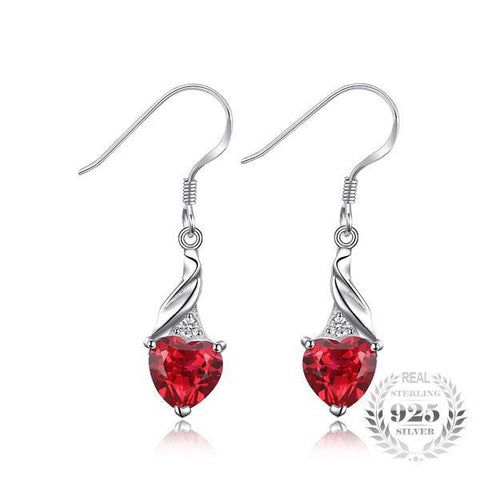 Astounding 3.7Ct Heart Shaped Lab-Created Ruby 925 Sterling Silver Dangle Earrings - Vera Nova Jewelry