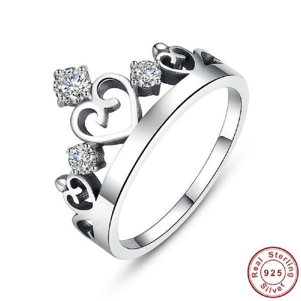 Attractive Crown Sterling Silver Rings - Vera Nova Jewelry