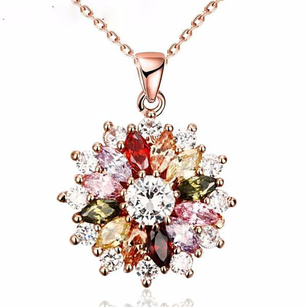 Beauteous 3D Flower Crystal Necklaces & Pendants With Colorized Aaa Cubic Zircon - Vera Nova Jewelry
