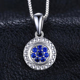 Blooming Flower Created Blue Spinel 925 Sterling Silver Pendant Necklace - Vera Nova Jewelry