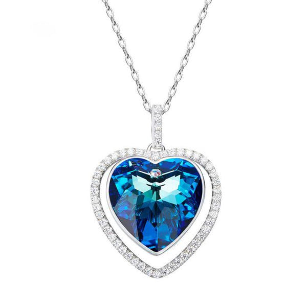 Blue Heart Silver Pendant Necklaces Made With Swarovski Elements - Vera Nova Jewelry