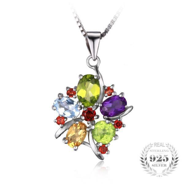 Breathtaking 3.1Ct Flower Natural Amethyst 925 Sterling Silver Pendant Necklace - Vera Nova Jewelry