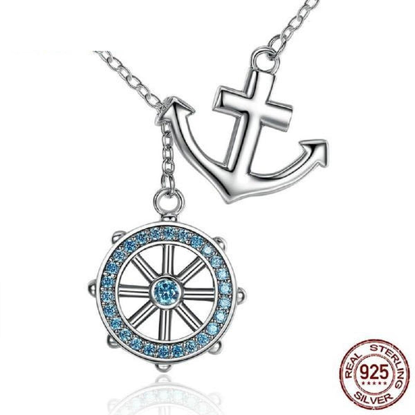 Breathtaking Blue Anchor & Rudder Sterling Silver Pendant Necklace Made With Swarovski Elements - Vera Nova Jewelry