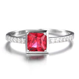 Captivating 0.8Ct Square Pigeon Blood Ruby 925 Sterling Silver Rings - Vera Nova Jewelry