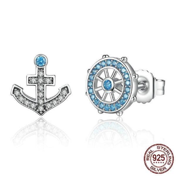 Captivating Blue Anchor & Rudder Sterling Silver Stud Earrings - Vera Nova Jewelry
