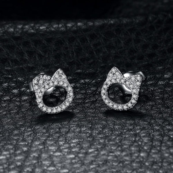 6b3df5b37 Adorable Cat Face 0.2Ct Cubic Zirconia 925 Sterling Silver Stud Earrin