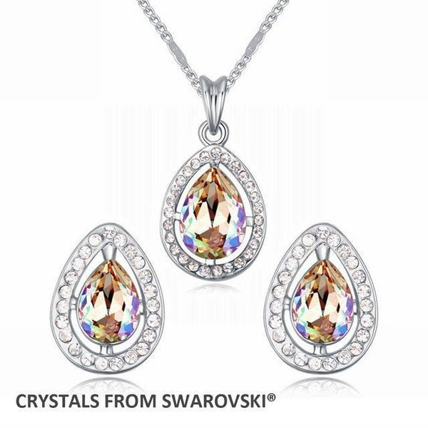 Charming Drop Necklace Pendant Earrings Jewelry Set Made With Swarovski Elements - Vera Nova Jewelry